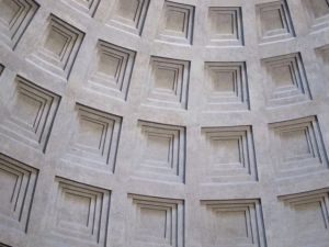 "The dome of the Pantheon - carved concrete made about 2000 years ago -- the Romans made it thinner and lighter higher on the dome.  Imagine around 1100 AD looking at this wondering ""why can't we build like this 1000 years later?""  And in some ways, we still can't."